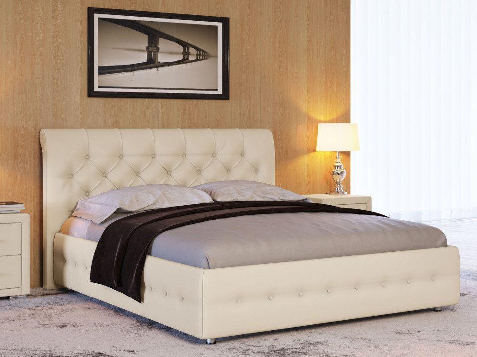 Кровать с обивкой из экокожи